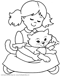 pet cat coloring pages free printable pretty kitty bow