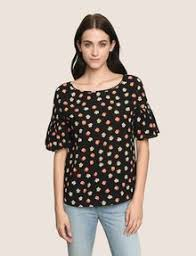 s blouse armani exchange floral drop shoulder ruffle blouse s s woven top