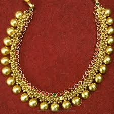 gold plated necklace images Gold plated antique ball necklace south india jewels jpg