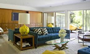 furniture interesting midcentury modern with blue sofa and wood