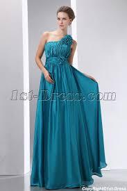 popular teal blue floral one shoulder evening dress 1st dress com