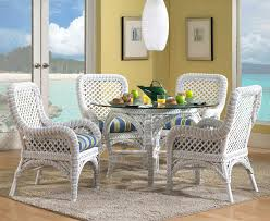 Marvelous White Wicker Dining Table And Chairs  For Your Dining - Round dining table with wicker chairs