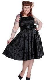 hell bunny plus size gothic black tattoo flock rockabilly dress