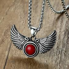 jewelry wings necklace images Gothic angel wings pendant necklace with red stone goth male jpg