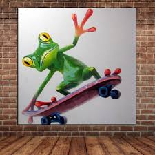 popular framed wall murals buy cheap framed wall murals lots from funny frog play skateboard oil painting modern abstract canvas art animal wall mural picture decoration