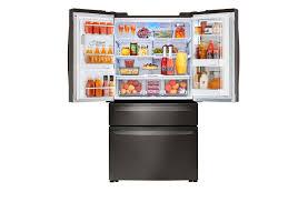 lg bottom freezer french door refrigerator lg 30cuft 4 door french door with instaview in black stainless steel