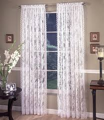 monaco lace rod pocket curtain pair available in white or ivory