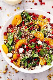 winter pomegranate orange quinoa salad with creamy lemon greek