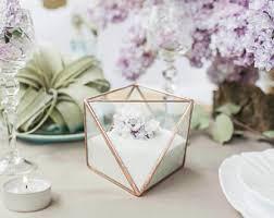 wedding ring holder glass ring box wedding ring holder geometric glass box ring
