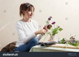 Flower Decoration At Home Woman Making Diy Flower Decoration Home Stock Photo 721454839