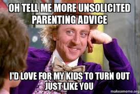 Parenting Advice Meme - oh tell me more unsolicited parenting advice i d love for my kids to