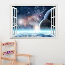 popular universal wall buy cheap universal wall lots from china 3d effect universe landscape wall stickers removable home decor for living room bedroom decor art wall