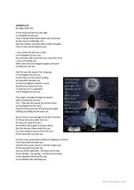 annabel lee by edgar allan poe annabel lee lesson plan worksheet free esl printable worksheets