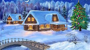 happy new year christmas tree winter village houses wooden bridge
