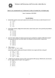 test ingresso veterinaria esame per ammissione al test di veterinaria docsity