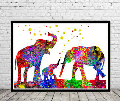 elephant elephant family watercolor art print animal