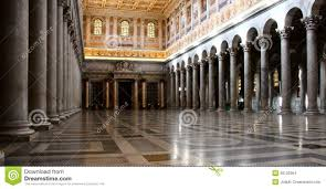 interior of papal cathedral of saint paul outside the wall rome