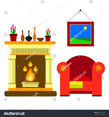 vector chair sofa furniture fireplace home stock vector 473701894