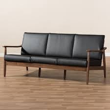 Modern Faux Leather Sofa Union Rustic Kellner Mid Century Modern Faux Leather Sofa