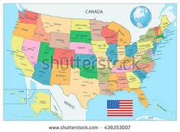 usa map alaska highly detailed political map usa including stock vector 436353007