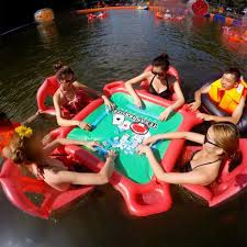 inflatable floating card table and chairs poker floats set for pool