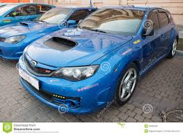 blue subaru wrx blue pre facelift subaru impreza wrx sti car editorial image