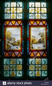 glass panel front door decorative stained glass panel hand painted rural scene on front