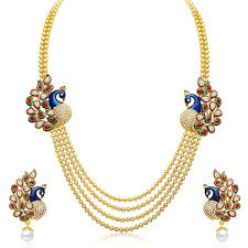 best necklace sets images Jewellery gold plated traditional dancing peacock necklace set jpg