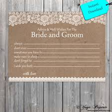 and groom advice cards lace rustic and groom well wishes instant digital