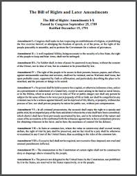 Bill Of Rights Worksheet Answers Bill Of Rights And Later Amendments Printable Document