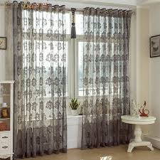 Grey Curtains For Bedroom Les Baoyi Embroidered Tulle Curtains For Living Room Sheer