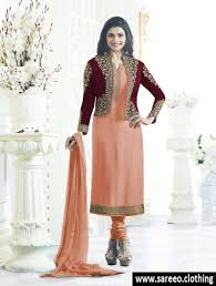 Light Orange Color by Prachi Desai Light Orange Color Georgette Koti Style Straight