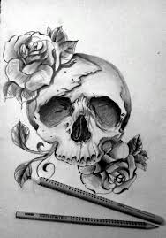 roses with skull design 1 in and drawing coloring pages