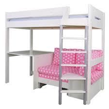 merlin high sleeper white with pink star sofa bed cabin
