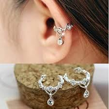 ear cuffs for pierced ears fashion rhinestone flower earcuffs for women clip on