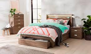 bed frame w end drawer 2 side drawers mocha oak
