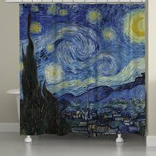 vincent van gogh s starry night shower curtain laural home shower curtains