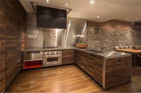 kitchen rustic kitchen with wooden cabinet and exposed brick