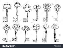 ornamental medieval vintage keys intricate forging stock vector