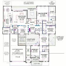 house plans courtyard front modern indoor shaped home casita narrow inside designs house