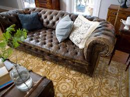 Light Brown Leather Sofa Furniture Light Brown Distressed Tufted Leather Sofa With Persian