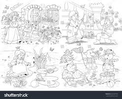 small set fairy tale illustrations snow stock illustration