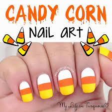 my life in turquoise halloween nail art candy corn