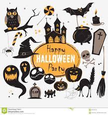 set of vintage happy halloween flat icons halloween scrapbook
