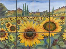 sunflower tile mural pacifica tile art studio backsplash my
