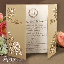 gatefold wedding invitations flower corners laser cut gold gatefold wedding day invitation