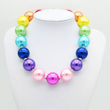 trendy pearl necklace images Chunky pearl necklace girls summer trendy rainbow collares kids jpg