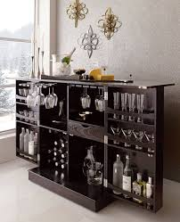 Black Bar Cabinet New Steamer Folding Wine Liquor Bar Cabinet In Black Liquor