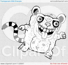 cartoon clipart of an outlined running ugly lemur black and