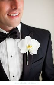 Orchid Boutonniere White Orchid Boutonniere On Groom U0027s Black Tie Tuxedo The London